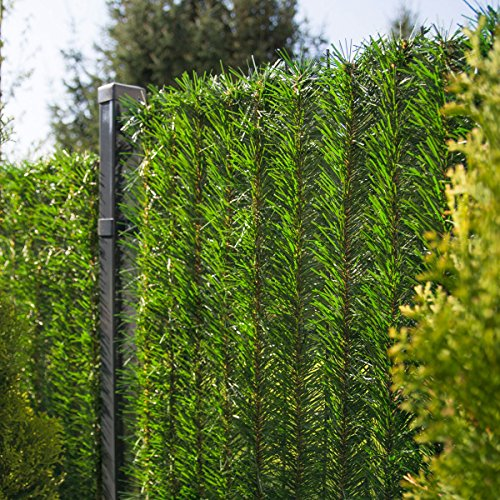 FairyTrees Revêtement de Clôture GreenFences, Haie Artificielle, Brins à Monter, Couleur: Vert Clair, Hauteur 140cm, 5m