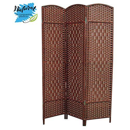 Hogar y Mas Biombo Separador de Ambientes, con 3 Paneles, para Vestidor/Recibidor, de Bambú Natural, 180x135 cm.