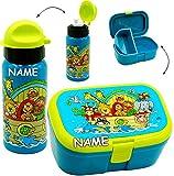 alles-meine.de GmbH 2 tlg. Set _ Lunchbox / Brotdose & Trinkflasche -  Arche Noah - Tiere / Zooti..
