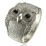 Merdia Vintage 50mm Width Wide Owl Woman Cuff Bracelets