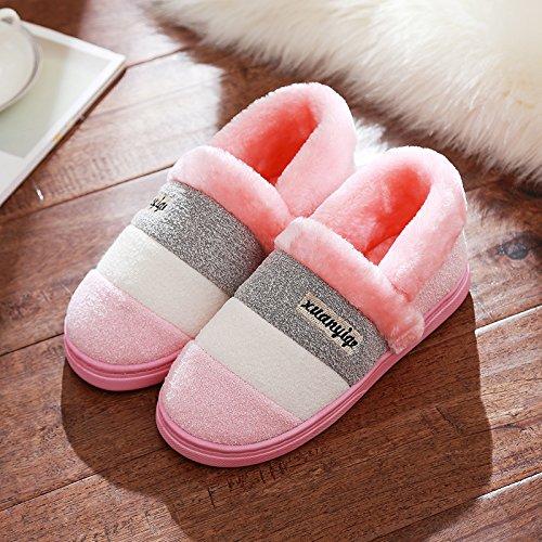 Pantoufles Doghaccd, Les Pantoufles De Coton Restent Femelle Mâle Haut-paquet Avec Chambre Épaisse, Anti-dérapant Hiver Couple Chaud Épais Winter Home Pink2
