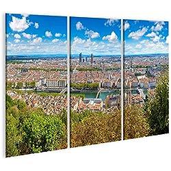 islandburner, Tableau Tableaux sur Toile Vue aérienne panoramique de Lyon, France par Une Belle journée d'été Impression Image Motif Moderne Décoration Affiche Photo PLN-3P-N