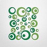WANDfee® Wandtattoo 50 Retro Kreise AC0711112 Größe Ø 2 x 20 cm, 6 x 15 cm, 10 x 10 cm, 20 x 6 cm, 12 x 3 cm Farbe grün hellgrün