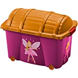 Opbergdoos voor meisjes, 'Fee', 50 liter, met deksel, met 4 wielen, veelzijdig inzetbaar, speelgoedkist, schatkist, speelbox,