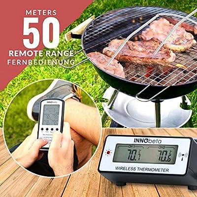 INNObeta Digital Fleischthermometer Bratenthermometer Grillthermometer Funk Backofen mit Alarm Batterien