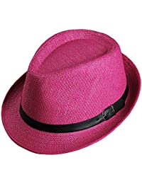 LOCOMO Men Women Straw Trilby Hat Fedora Short Upturn Brim FFH391BE1