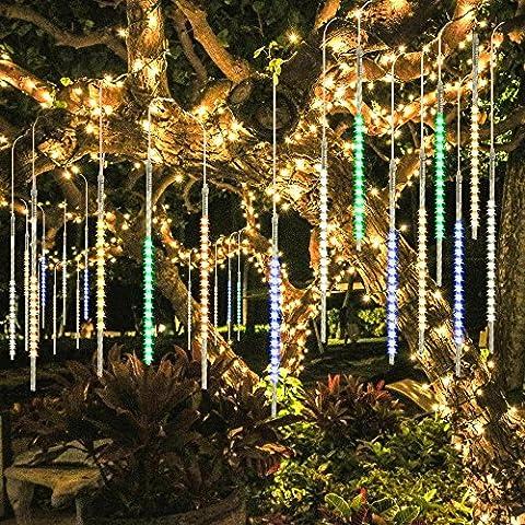 TurnRaise Lumières de 50cm 10 Tube 540LED Pluie Imperméable à L'eau de Pluie de Météores Mariage Parti Décoration D'arbre de Noël (50CM-Multi-color)