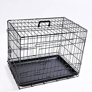 Dog Crate, Large, 91 x 57 x 25 cm, Black, Pet Carrier Transport Cage Wire Cage Dog Crate Cage Model 6907 61tOoloAhvL