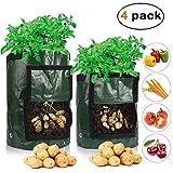 Karl Aiken Pflanzbeutel für Gartenpflanzen, Gemüsesäcke für Kartoffeln, Karotten und Zwiebeln – Pflanzsack Grow Bag Blumentopf mit Zugang zum Deckel und robusten Griffen 4 Pack