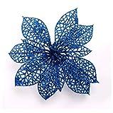 Venkaite 10 pcs Artificiale Fiori di Natale Albero di Natale Ornamenti Fiori di Abbellimento per Casa Festa di Natale Decorazioni, Blu