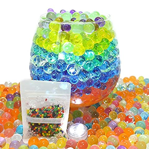 50g Aqua Gems, Water Beads, Water Crystal, Bio Gel Balls, Crystal Soil - 3 x Waterproof LED Lights Included (Mixed Colour)