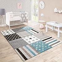 Paco Home Kinderteppich Kinderzimmer Konturenschnitt Stern Muster Beige Creme Pastellfarben, Grösse:80x150 cm