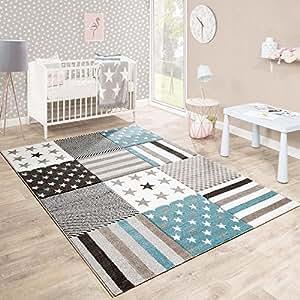 Tappeto Per Bambini Camera Dei Bambini Taglio Sagomato Motivo Stella Beige Crema Colori Pastello, Dimensione:80x150 cm