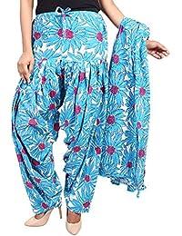 BILOCHI'S Women Printed Solid Cotton Full Patiala Salwar With Dupatta Set(Free Size, Sky)