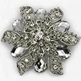 "Elixir 77 UK NEW 2.1"" LARGE SILVER COLOUR FLOWER BROOCH with PLAIN DIAMANTE CRYSTALS WEDDING BRIDAL PARTY BROACH"