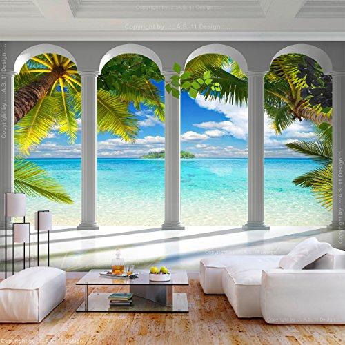 decomonkey | Fototapete Meer Insel 400x280 cm XL | Tapete | Wandbild | Bild | Fototapeten | Tapeten | Wandtapete | Wanddeko | Architektur Palmen Himmel | FOC0029a84XL