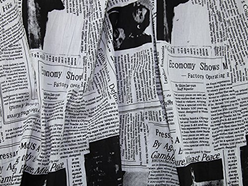 Crinkle-voile (Zeitung Print Crinkle Baumwolle Voile Kleid Stoff schwarz & weiß, pro Meter)