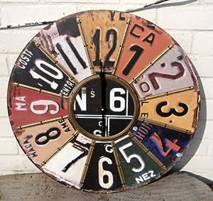 Plaque immatriculation américaine Horloge murale 60 cm de diamètre