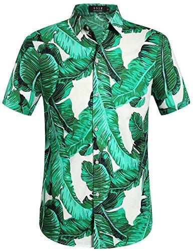 Blätter Button Down Hawaii Art Kurzarm Freizeit Hemd(X-Large, Grün) (Halloween Hawaii-shirt)