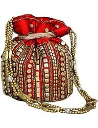 Ruhi's Creations Women's Cotton Elegant Jaipuri Heavy Work Potlis (Red)