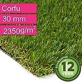 Kunstrasen Rasenteppich Corfu für Garten - Florhöhe 30 mm - Gewicht ca. 2350 g/m² - UV-Garantie 12 Jahre (DIN 53387) - 2,00 m x 0,50 m | Rollrasen | Kunststoffrasen