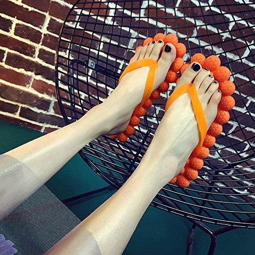 Eastlion Frauen und Mädchen Traube Design mit Massage Bequeme Sommer Hausschuhe Flip Flops Strings Strand Hausschuhe Schuhe Gras-Grün