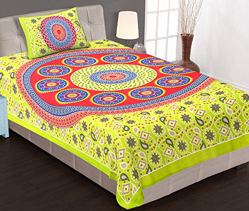 Jaipuri Rajathani traditonal Hand Block Single bedsheet with one pillow cover  available at amazon for Rs.170