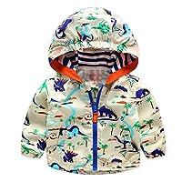 EZB Childrens Unisex Dinosaur Windbreaker Jacket (Beige)