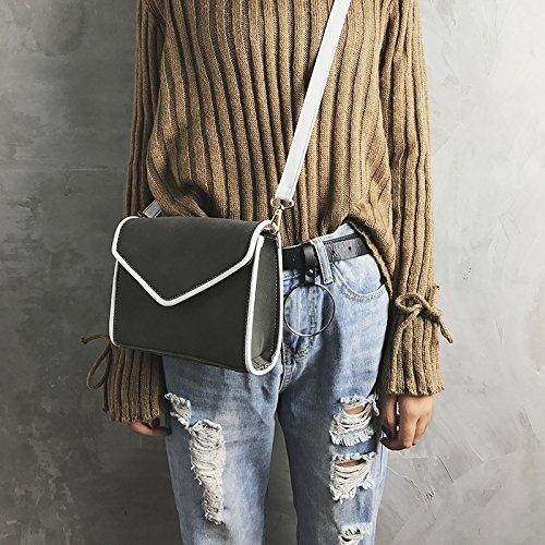 Herbst und Winter einfache kleine quadratische Tasche fashion frosted Farbe stitching Shoulder Bag female Casual Messenger Bag Dark gray