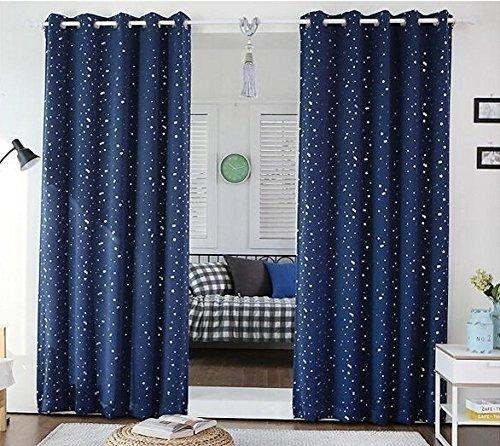 Raum-verdunkelung Vorhänge Für Kinder (2er-Set Vorhang,Himmel und Sternchen, dunkelblaue Vorhänge Für Kinder (230*140 cm))