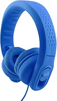Promate Kids Headset, Over-Ear Volume Limited Wired Headphones with Mic, Flexure-2 Blue