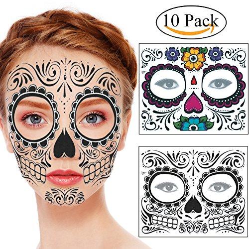 Weicici 10 Packs Kit Tag der Toten Sugar Skull Temporäre Tattoo-Set: Männer oder Frauen (5 Stück A+5 Stück B) (Sugar Skull Kostüm Für Männer)