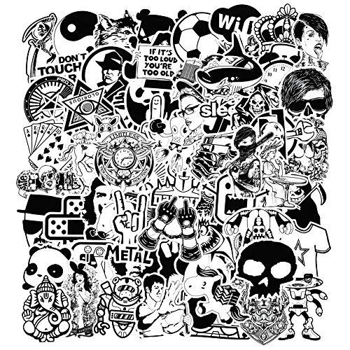 Aufkleber [240 Stück], Schwarz Weiß Sticker Graffiti Vinyl Aufkleber für Laptop Autos Motorrad Fahrrad Skateboard Gepäck Stoßfänger Helm Fenster Handy Notebook Gitarre Skateboard Snowboard Wandtattoos