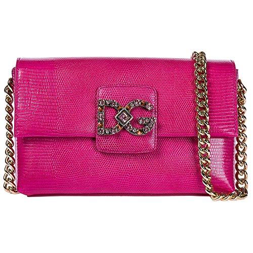 Dolce&Gabbana borsa donna a spalla shopping in pelle nuova millenials fucsia