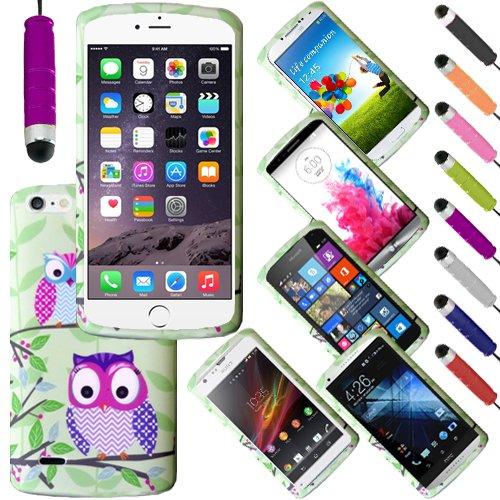 Monde de mobile® Apple iPhone 6G 11,9cm Imprimé arrière en caoutchouc Style Coque en gel silicone + stylet d'écran LCD, Two Owls On a Branch, a Two Owls On a Branch