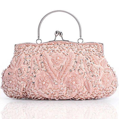 Damen Tasche Clutch Abendtasche Handtasche Schultertaschen Umhängetasche Brauttasche mit Perlen Pailletten Schulterketten Geschenk für Frauen Glitzer Retro Party Hochzeit Theater LONGBLE (pink) (Handtasche Tasche Perlen)