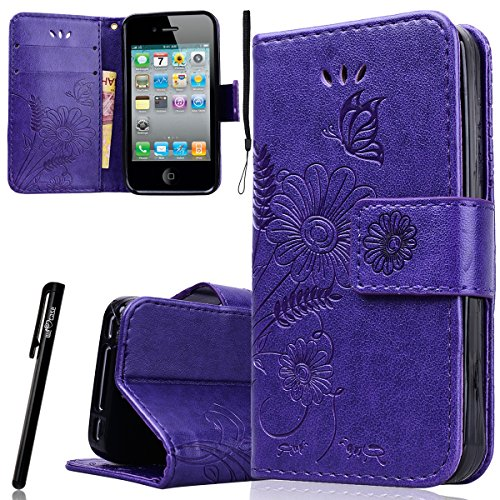 WE LOVE CASE Funda iphone 4 / 4S Original, Piel con Tapa y Cartera Carcasa Flip caso de Cuero Billetera, Funda iPhone 4S con Ranura Para Tarjeta Card Holder y Stand Cierre Magnético Función Anti Shock Funda con Flor Mariposa Funda Apple iPhone 6 iPhone 6S -