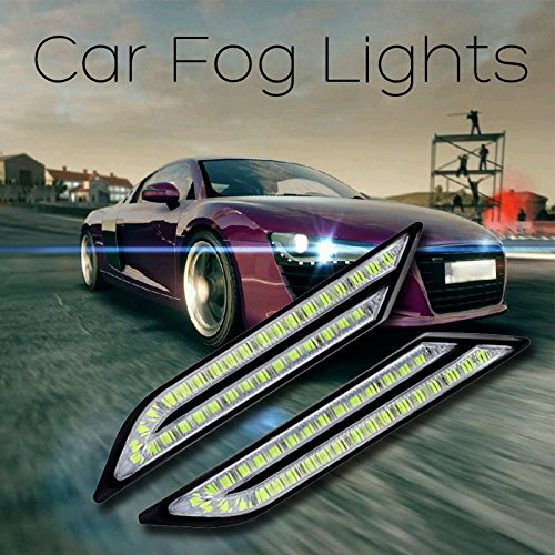 Calistouk 2 x LED DRL Luce Bulb di marcia diurna Sensore di frenata d'auto Sorgente luminosa per Auto Styling Impermeabile Cristallo bianco Blu Luce diu