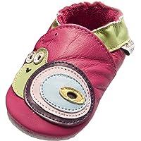 Jinwood designed by amsomo - Pantofole in pelle, per bambini e bambine, taglia 17-36, Multicolore (Snail Fuchsia