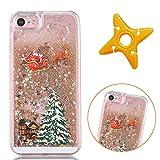 MAOOY iPhone 8 Merry Christmas Handyhülle, iPhone 7 Clear Schutzhülle mit Glitzer Glanz Flüssige Quicksand und Stars, iPhone 7/8 Hart Plastik Fall, Gold