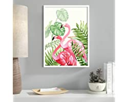 Painting Mantra Art Flamingo Framed Canvas Art Print, Painting - (Pink, 13 X 17 INCH)