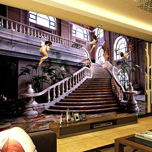 Leegt 3D Tapete Wallpaper Mural Benutzerdefinierte Wandbild Tapeten Im Europäischen Stil Engel Halle Treppe Himmel 3D-Poster Foto Fotografie Hintergrund Tapete Wohnzimmer 300cmX250cm