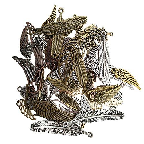 BUWANT Antik Silber Tibetanische Flügel Schmuckzubehör Basteln Charms Anhänger Für Halskette Armband (Trachten Home Schmuck Party)