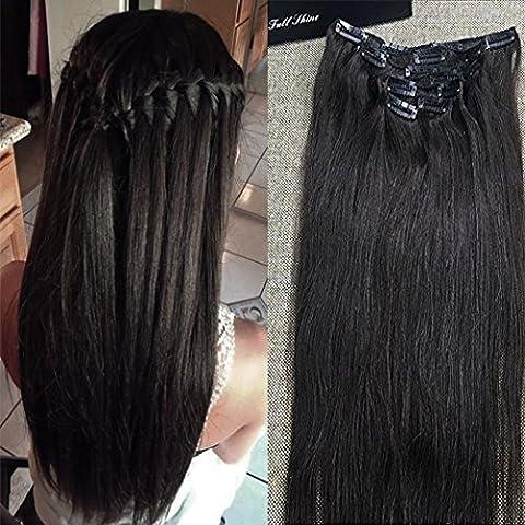 Full Shine 24 Zoll Echthaar Clip In Extensions 100% Real Human Hair Extensions Clip in Glattes Haar-Verlängerungen for Afrikanische Frauen Schwarz 7Pcs