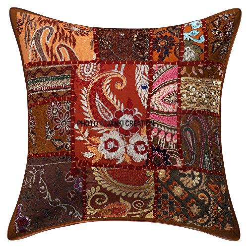 Kissen mit Bohemian Boho indischer, ethnischer Home Dekorative Indische Sofa-Kissen Deko-Kissen Sofa-Überwurf-Kissen, Kissenhülle Boho Bohemian, 16 x 16 cm -