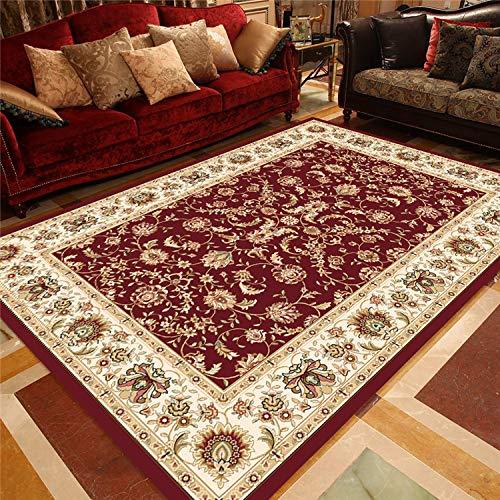 Zhyyhz Orientalische Blumenmotivbereich Teppiche Roter klassischer Muster-Teppich Einfach zu reinigen Weiche Plüschqualität,A,3'9''x5'2'' -