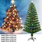 Goodde Sapin de Noël illuminé - Sapin de Noël Artificiel avec Lampe à Fibres optiques - avec étoiles superposées - Éclairage LED 4 Couleurs, 8 séquences, Support Pliable, Vert