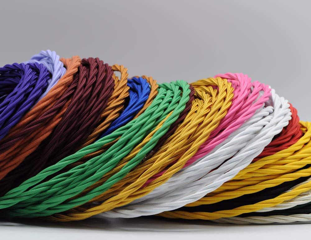 Cable textil trenzado para iluminaci/ón 3 x 0,75 mm, 3 m Klartext color amarillo M/áxima seguridad a prueba de golpes.