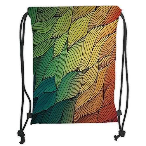 Trsdshorts Abstract,Ocean Inspired Artwork Waves Curly Psychedelic Entrancing Colorful Ripple Water,Multicolor Soft Satin,5 Liter Capacity,Adjustable String Closure, -