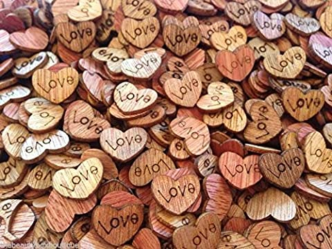 50 X WOODEN LOVE HEARTS - CRAFT